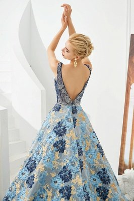 Heather | Luxury Floral Sexy Deep V-neck Princess Prom Dress with Deep V-back_7