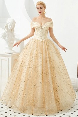 Herman | Luxury Off-the-shoulder Ball Gown for Prom/Evening with Sparkly Floral Appliques