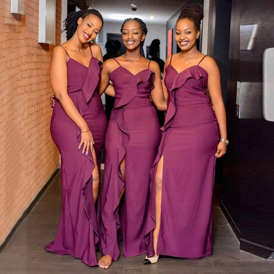 Elegant Spaghetti V Neck Floor Length Ruffles Bridesmaid Dresses | Purple Long Floor Length Maid Of Honor Dresses_3