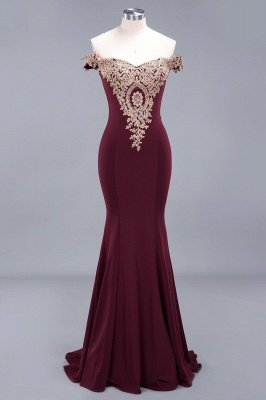 Simple Off-the-shoulder Burgundy Formal Dress with Lace Appliques_18
