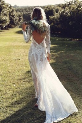 Elegant Boho Long Sleeves Backless Lace Beach Wedding Dress   Simple Summer Casual Bridal Gowns Online_3