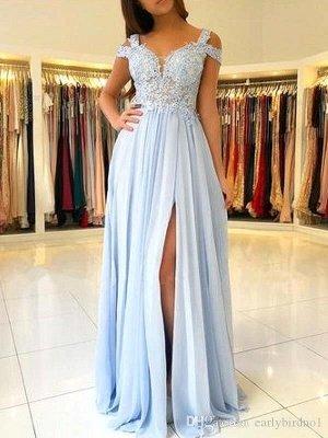 Элегантные выпускные платья с открытыми плечами и низким вырезом на спине с сексуальным высоким разрезом   Светло-голубые вечерние платья с кружевными аппликациями_1