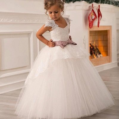 Cute Lace Cap sleeves White Puffy Princess Belt Flower Girl Dress