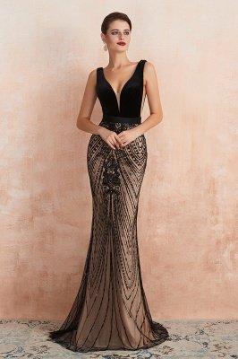 Celeste | Sexy Pluging V-neck Black Complicated Style Evening Dress, Timeless Sparkle Sequin Backless Velvet Dress for Prom