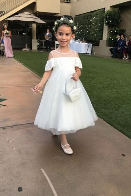 Pretty Cold-Shoulder Tulle Flower Girl Dresses | White Lace Little Girls Pageant Dresses