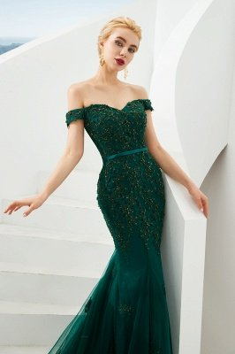 Harvey | Emerald green Mermaid Tulle Prom dress with Beaded Lace Appliques_5