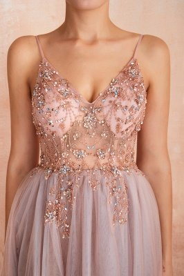 Charlotte | New Arrival Dusty Blue, Pink Spaghetti Strap Prom Dress with Sexy High Split, Evening Gowns Online_9