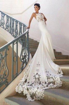 Robe de mariée en dentelle à bretelles spaghetti en ligne avec train chapelle   Robes de mariée blanches à moins de 200 $_2