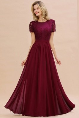 Abraham | Burgundy Short Sleeve Lace Simple Chiffon Formal Dress, Pink, Dark Green_15
