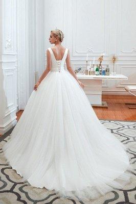Sexy ärmellose weiße Prinzessin Frühling Brautkleid mit V-Ausschnitt   Elegante Brautkleider mit niedrigem Rücken und Gürtel_8