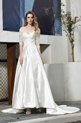 Modern Illusion neck A-Line Satin Lace Fall Long Wedding Dress with 3/4 Sleeves