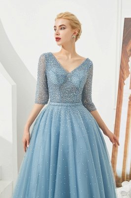 Harold | Discount V-neck Fully beaded 2/3 sleeves A-line Tulle Long Prom Dress_5