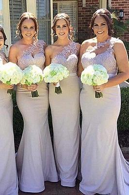 Robes de demoiselle d'honneur élégante sirène | Une épaule dentelle longues robes de soirée de mariage_2