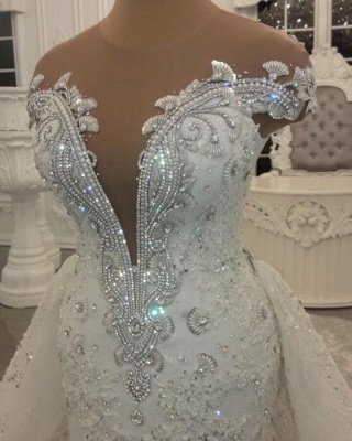 Glamorous Crystal Lace Off The Shoulder V Neck Beading Bride Dresses with Detachable Overskirt | Sleeveless Open Back Wedding Gowns_4