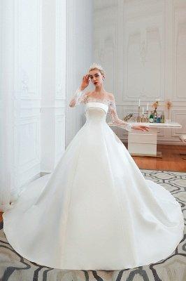 فستان زفاف الأميرة من الساتان بأكمام طويلة من الدانتيل الرومانسي | فساتين زفاف الأميرة مع قطار الكاتدرائية_1