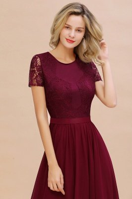 Abraham | Burgundy Short Sleeve Lace Simple Chiffon Formal Dress, Pink, Dark Green_6