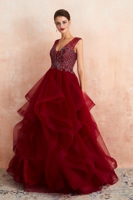 Cherise | Wine Red V-neck Sparkle Prom Dress with Muti-layers, Discount Burgundy Sleevleless Ball Gown for Online Sale_5