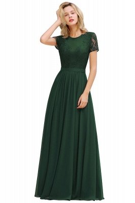 Abraham | Burgundy Short Sleeve Lace Simple Chiffon Formal Dress, Pink, Dark Green_11
