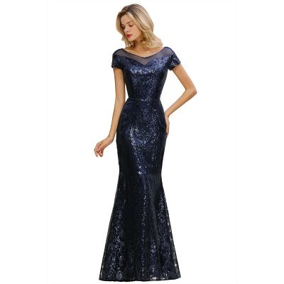 Helen| Long Sequined Cap sleeves Scoop neck Formal dress for Prom_12