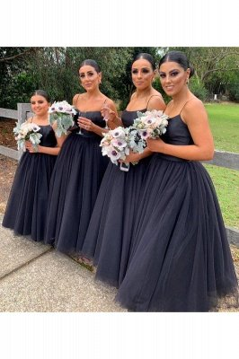 Elegant Black Spaghetti Straps Floor Length Scoop Neckline Bridesmaid Dresses | A-line Long Prom Dress Wedding Party Dresses