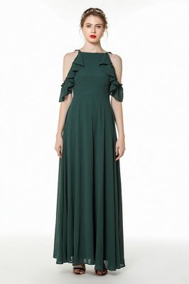 Celine | Emerald Green Cold Shoulder High waist Cheap Formal Dress under $50