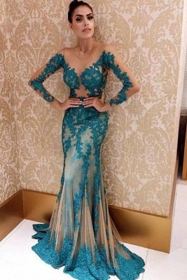 Elegant Long sleeve Illusion neck Blue Lace Appliques Tulle Prom Dress