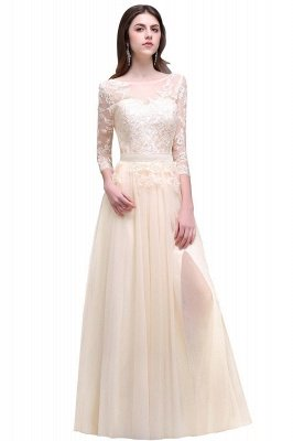 AUBREY | A-line Scoop Champagne Prom Dress With Sleeve_4