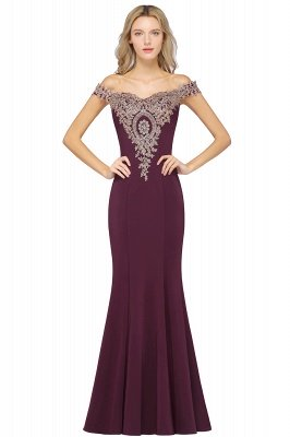 Simple Off-the-shoulder Cheap Burgundy Formal Dress with Lace Appliques_4
