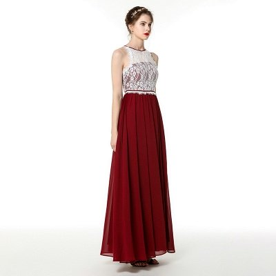 Trendy two-toned High neck Burgundy Formal Dress with soft pleats | High neck white lace Evening Dress_4