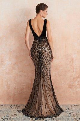 Celeste   Robe de soirée sexy de style compliqué à col en V noir, robe de velours sans dossier en paillettes étincelante pour bal de promo_9