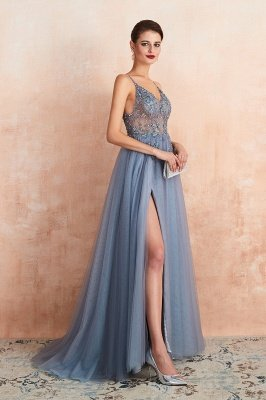 Charlotte | New Arrival Dusty Blue, Pink Spaghetti Strap Prom Dress with Sexy High Split, Evening Gowns Online_13