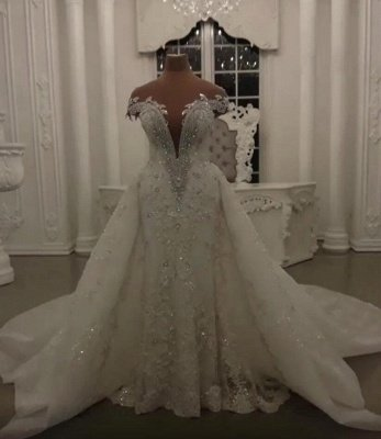 Glamorous Crystal Lace Off The Shoulder V Neck Beading Bride Dresses with Detachable Overskirt | Cheap Sleeveless Open Back Wedding Gowns