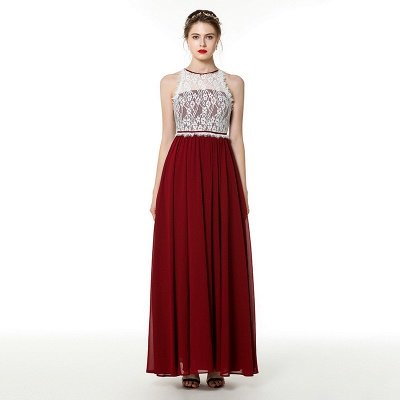 Trendy two-toned High neck Burgundy Formal Dress with soft pleats | High neck white lace Evening Dress_1