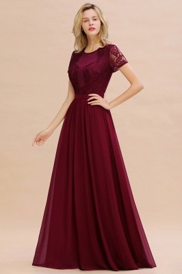 Abraham | Burgundy Short Sleeve Lace Simple Chiffon Formal Dress, Pink, Dark Green_12