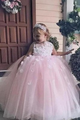 Cute Puffy Jewel Spring Lace Appliqued Sleeveless Flower Girl Dresses | Crew Long Tulle Little Girl Pageant Dress