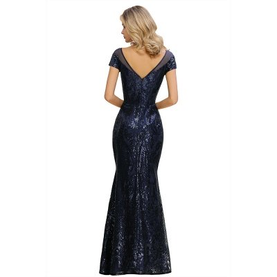 Helen| Long Sequined Cap sleeves Scoop neck Formal dress for Prom_14