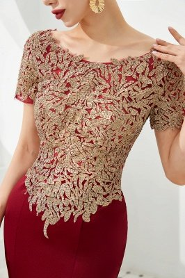 Hilary | Custom Made Short sleeves Burgundy Mermaid Prom Dress with Gold Lace Appliques_7
