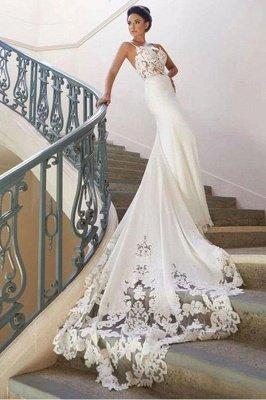 Robe de mariée en dentelle à bretelles spaghetti en ligne avec train chapelle   Robes de mariée blanches à moins de 200 $_4