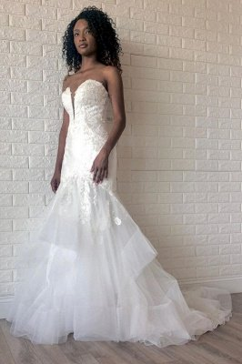 Cheap White Sweetheart Mermaid Spring Wedding Dress with Multi-Layers