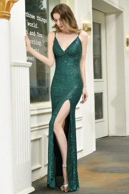 Ardell | Sexy Black Emerald Sequined High Slit Prom Dress Online_21
