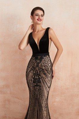 Celeste   Robe de soirée sexy de style compliqué à col en V noir, robe de velours sans dossier en paillettes étincelante pour bal de promo_4