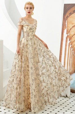 Herbert | Elegant Gold Cold shoulder Prom Dress with Delicate Multi-color Lace Appliques