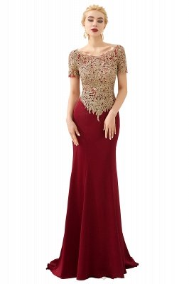 Hilary | Custom Made Short sleeves Burgundy Mermaid Prom Dress with Gold Lace Appliques_1