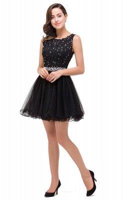 ABBY | A-ligne longueur au genou Tulle robe de bal avec Appliques & Crystal_5
