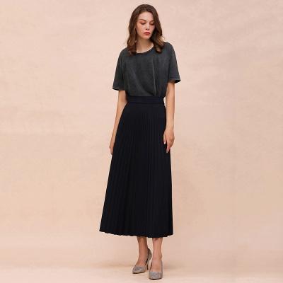 Alice New Fashion Damen Casual Frühling Autunm Stretch Hanf Plissee A-Linie Tee Länge Rock_17