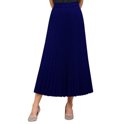 Alice New Fashion Damen Casual Frühling Autunm Stretch Hanf Plissee A-Linie Tee Länge Rock_9