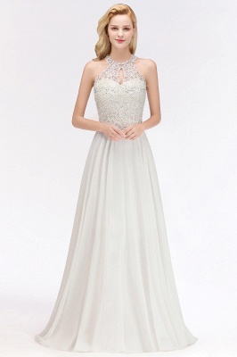Modest Pink Pears Beaded A-line Halter Bridesmaid Dresses_12