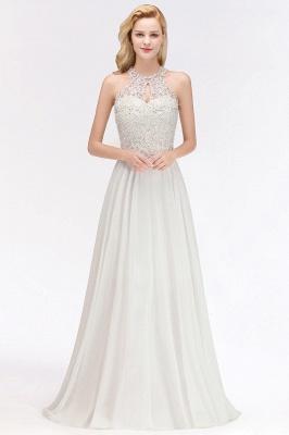Robes de demoiselle d'honneur licou A-ligne de perles de poires roses modestes_12