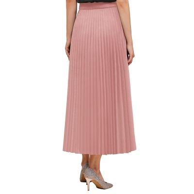 Alice New Fashion Damen Casual Frühling Autunm Stretch Hanf Plissee A-Linie Tee Länge Rock_2