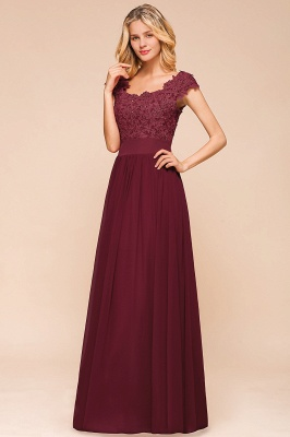 Burgundy Cap sleeves Lace Evening Gowns with Appliques | Cheap Chiffon Long Mother of the bride dress_7